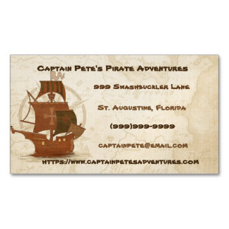 Pirate Mystery Ship Magnetic Business Cards