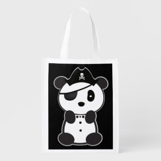 Pirate Panda Toto Shopping Leon The Panda Bear Reusable Grocery Bag
