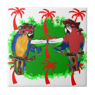 PIRATE PARROTS SMALL SQUARE TILE