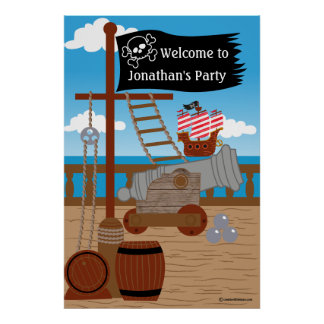Pirate Party Backdrop Poster
