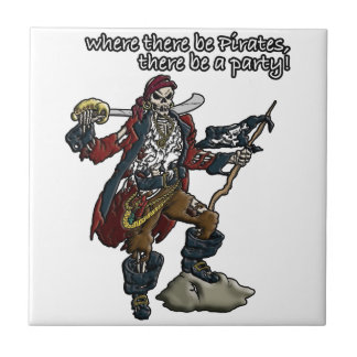 Pirate Party Small Square Tile