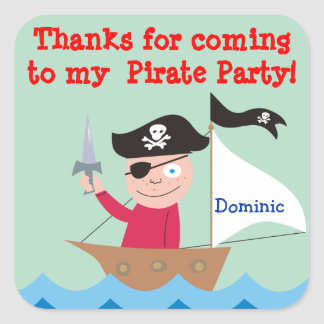 Pirate Party Thank You Stickers