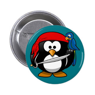 Pirate penguin parrot 6 cm round badge