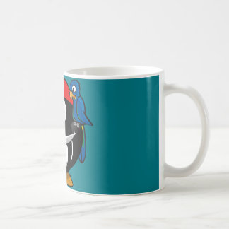 Pirate penguin parrot coffee mug