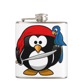 Pirate Penguin with a Red Bandanna and a Parrot Hip Flask