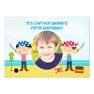 "Pirate Photo Birthday Invitation 5"" X 7"" Invitation Card"
