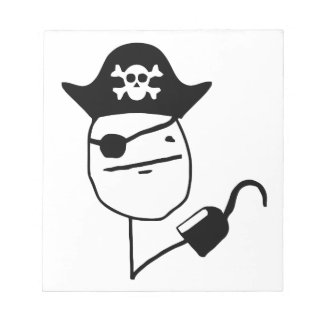 Pirate poker face - meme note pad
