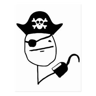 Pirate poker face - meme postcard