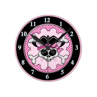 Pirate Princess Kitty Skull Clocks