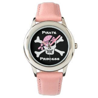 Pirate Princess on Black with Custom Text Watch
