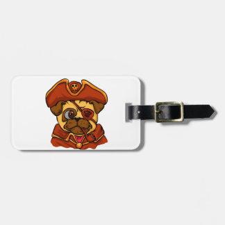 Pirate pug luggage tag
