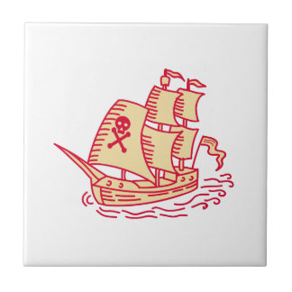Pirate Sailing Ship Galleon Mono Line Small Square Tile