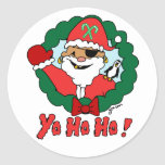 Pirate Santa Round Sticker