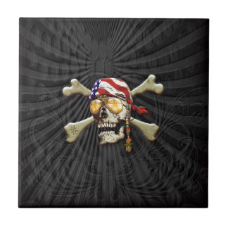 Pirate Scull Small Square Tile