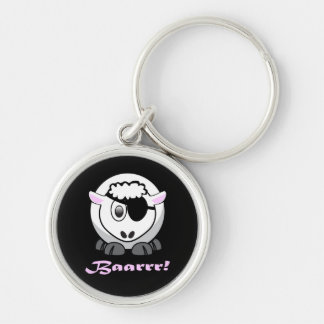Pirate Sheep with Eyepatch Silver-Colored Round Key Ring