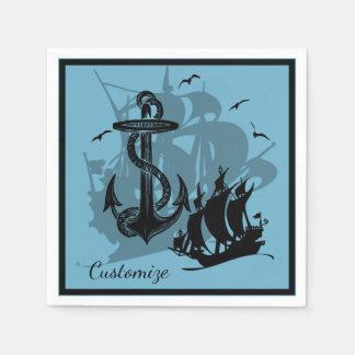 Pirate Ship & Anchor Black Silhouette Napkins 3 Disposable Napkins