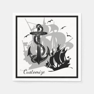 Pirate Ship & Anchor Black Silhouette Napkins Paper Napkin