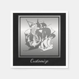 Pirate Ship & Anchor White Silhouette Napkins 2 Disposable Napkins