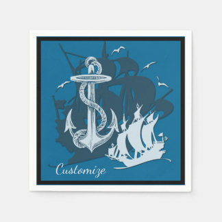 Pirate Ship & Anchor White Silhouette Napkins Paper Napkin