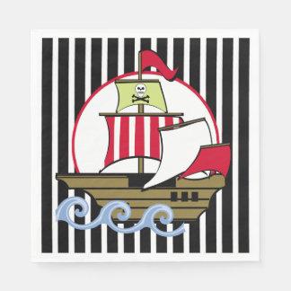 Pirate Ship and Black Stripes Disposable Serviette