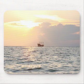 Pirate Ship at Sunset Mouse Pads
