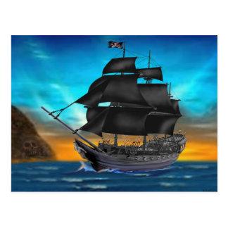 PIRATE SHIP AT SUNSET POSTCARD
