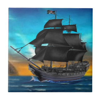 PIRATE SHIP AT SUNSET SMALL SQUARE TILE