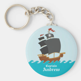 Pirate Ship Basic Round Button Key Ring
