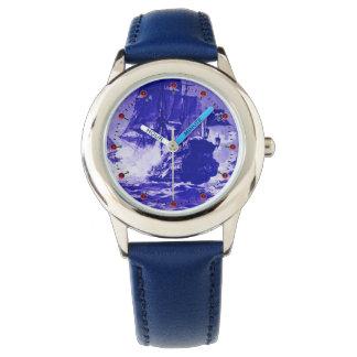 PIRATE SHIP BATTLE Navy Blue Nautical Watch