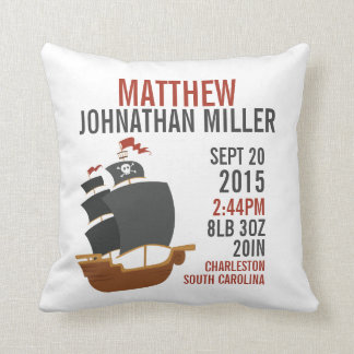 Pirate Ship Birth Announcement Nursery Pillow