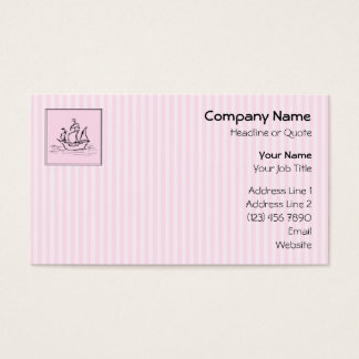 Pirate Ship. Black and Pink. Business Card