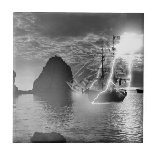 Pirate Ship Catalina Island Lightning Small Square Tile