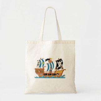 Pirate ship corsair budget tote bag