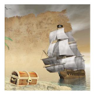 Pirate ship finding treasure - 3D render Acrylic Print