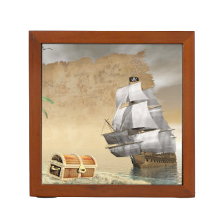 Pirate ship finding treasure - 3D render Desk Organiser