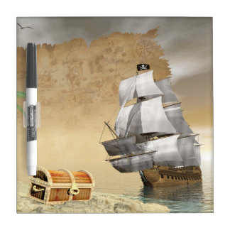 Pirate ship finding treasure - 3D render Dry Erase Board