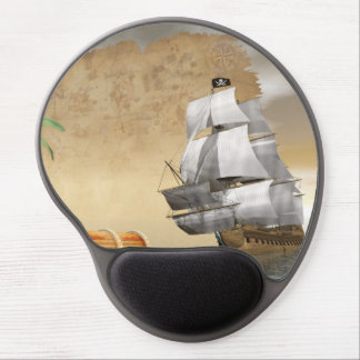 Pirate ship finding treasure - 3D render Gel Mouse Pad