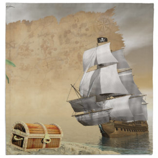 Pirate ship finding treasure - 3D render Napkin
