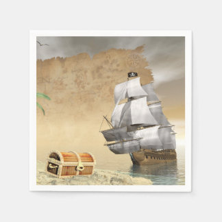 Pirate ship finding treasure - 3D render Paper Napkin