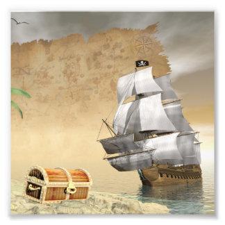 Pirate ship finding treasure - 3D render Photo Print