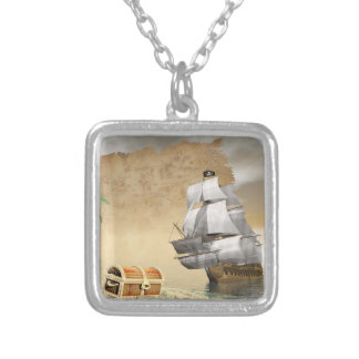 Pirate ship finding treasure - 3D render Silver Plated Necklace
