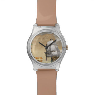 Pirate ship finding treasure - 3D render Wristwatches