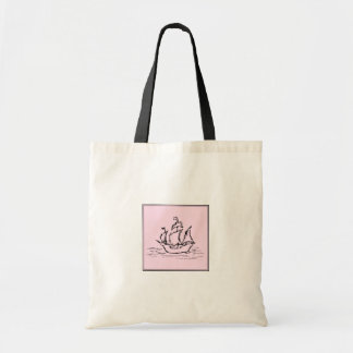 Pirate Ship Galleon. Black and Pink. Budget Tote Bag