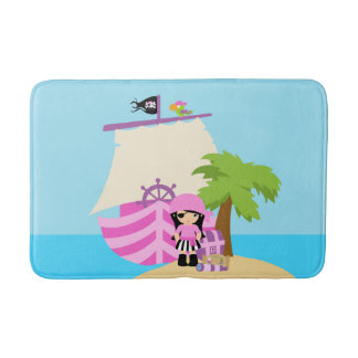 Pirate Ship Girl Bath Mat