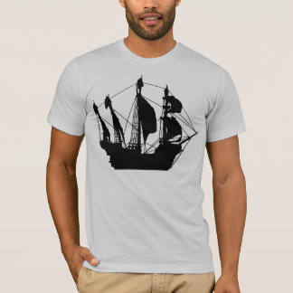 Pirate Ship gray semi fitted mens tshirt