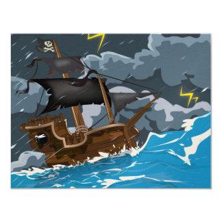 Pirate Ship in Storm 11 Cm X 14 Cm Invitation Card
