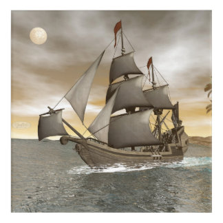Pirate ship leaving - 3D render Acrylic Print