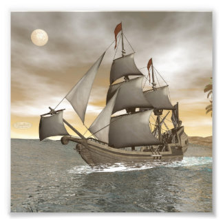 Pirate ship leaving - 3D render Art Photo