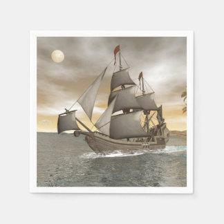 Pirate ship leaving - 3D render Disposable Napkins