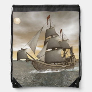 Pirate ship leaving - 3D render Drawstring Bag